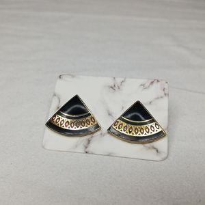 Skye gold and enamel Japanese fan earrings